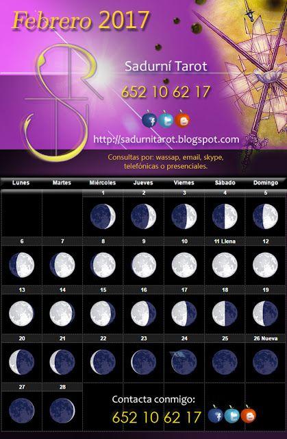 Sadurní Tarot: Calendario Lunar, Febrero 2017