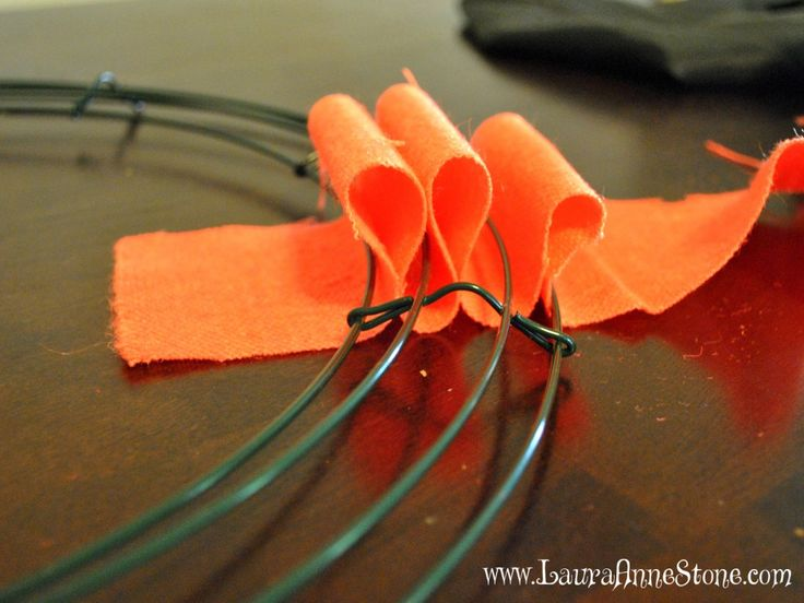 Orange Burlap Halloween Wreath loops