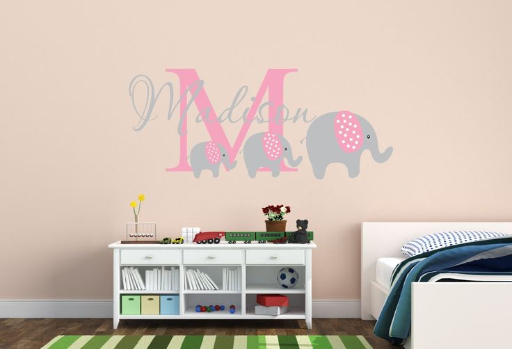Personalized Name Decal With Elephants Nursery Decor