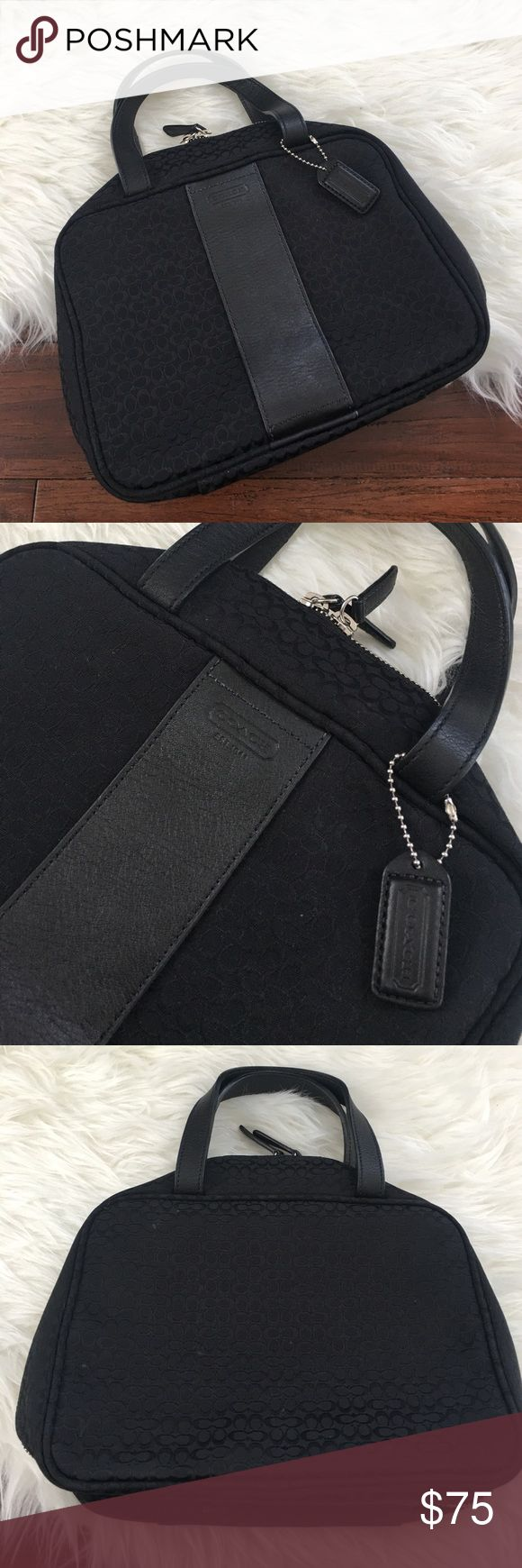 """Coach Black Logo Handbag Cosmetic Carry Bag Excellent used condition. Used only a few times. 100% authentic. Some stains are shown in the photos. Should have no problem getting them out. Can be used as a carry Handbag or as a travel cosmetic/jewelry case! Leather detailing and straps. Will include the dust bag. 10"""" across, 8"""" tall, and about 4"""" wide. Coach Bags Travel Bags"""