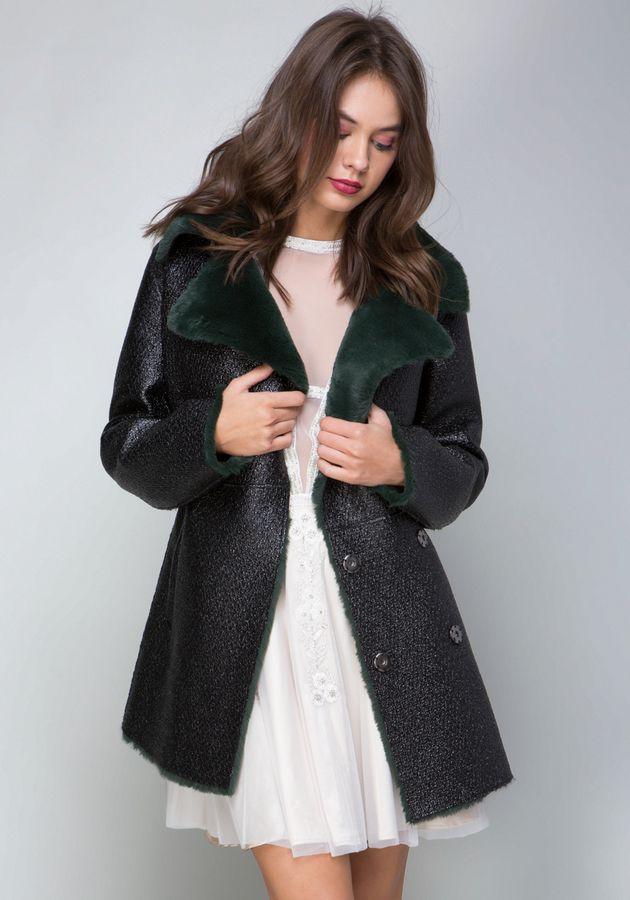 Bebe Tessa Faux Fur Collar Coat