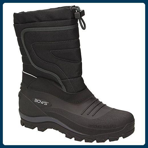 BOWS® -BENTE- Herren Damen Kinder Unisex Schnee Stiefel Winter Boots Schlupf Schuhe gefüttert wasserdicht wasserabweisende, Schuhgröße:45, Farbe:schwarz - Stiefel für frauen (*Partner-Link)