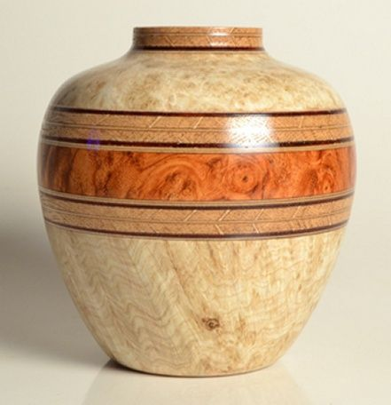 black ash burl / amboyna burl / book-matched white oak  about 3 inches diameter by 3-1/4 inches high Made by Jim McPhail