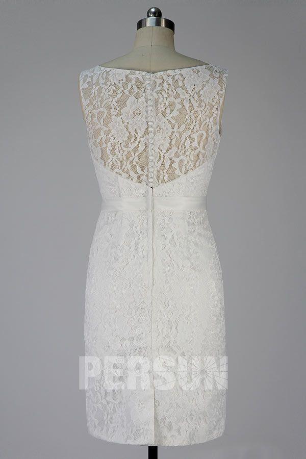 c8e6de8b279 Robe blanc cassé genoux en dentelle pour cocktail de mariage - Persun.fr