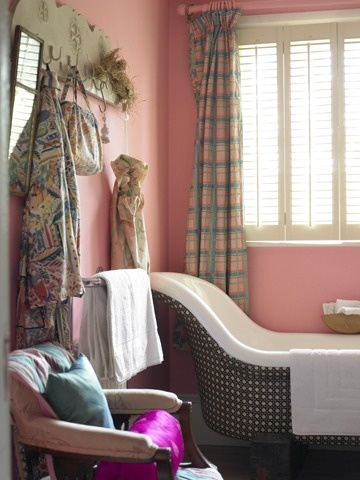 Pretty pink bathroom in the home of the late Susan Collier, textile designer