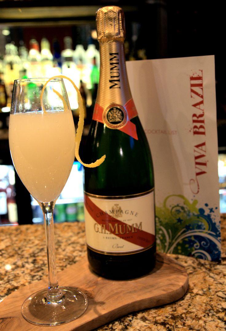 Bellini Champagne Cocktail - MUMM Champagne with peach puree.