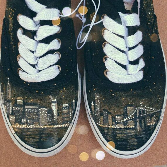 New York City Skyline Hand Painted Shoes NYC- These are nice, but I'd like a pair with the Seattle skyline.