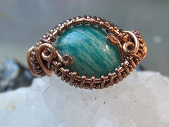 Amazonite Ring wire wrapped with copper wire. by DivineTreasurestc, $80.00