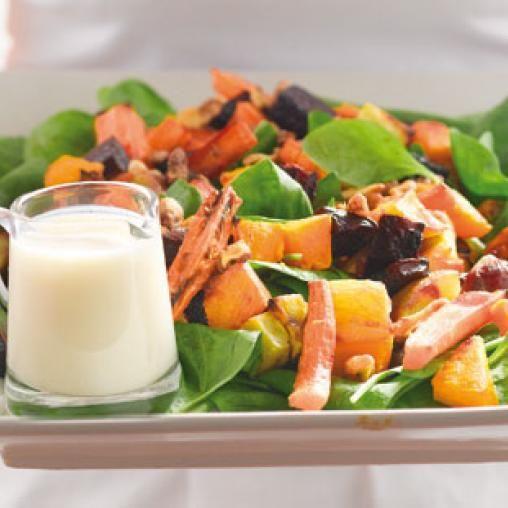 Warm sweet potato and beetroot salad