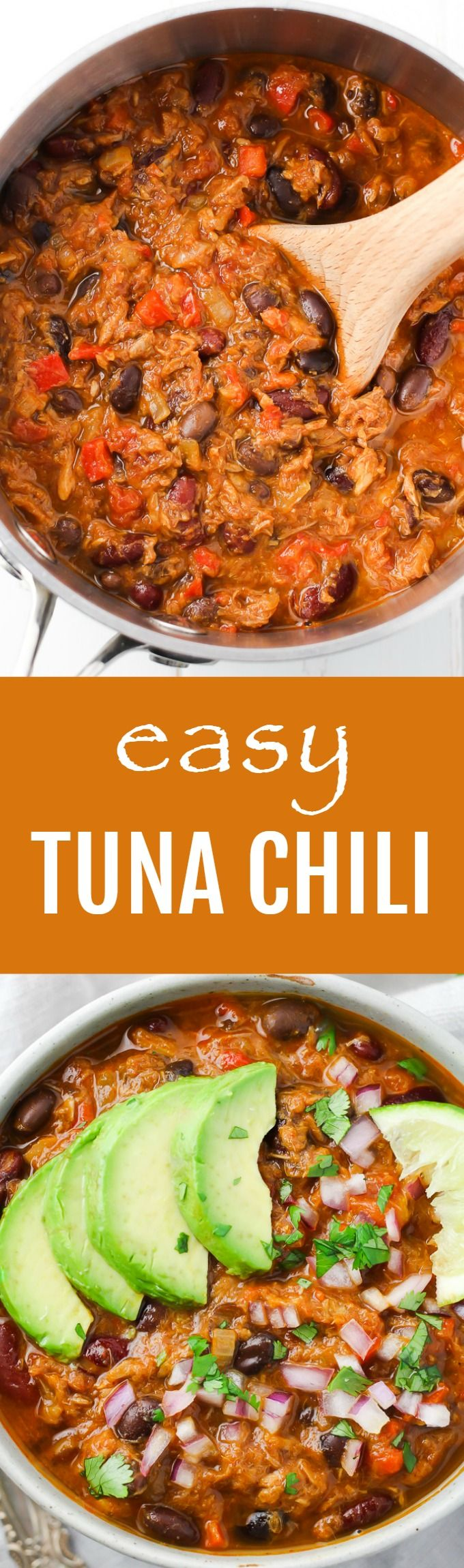 This tuna chili recipe is very easy to make using the ingredients most people have in their pantry. High in protein and very filling.