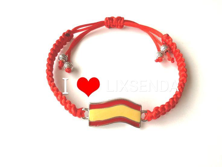 Pulseras de macrame, pulsera de españa, pulsera bandera de españa.todos los colores, hechas a mano, hechas a medida, aniversario, regalos, parejas, envio gratis. https://www.etsy.com/shop/Lixsenda