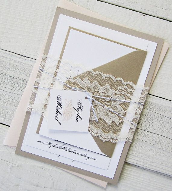 Peach Peony Wedding Invitation - Vintage Grey Elegant Lace Lotus Gold Twine Pink Flower Floral. Purcase this listing for a Sample. on Wanelo