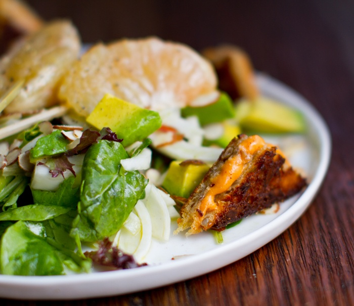Fennel salad with candied grapefruit and grilled cheese croutons