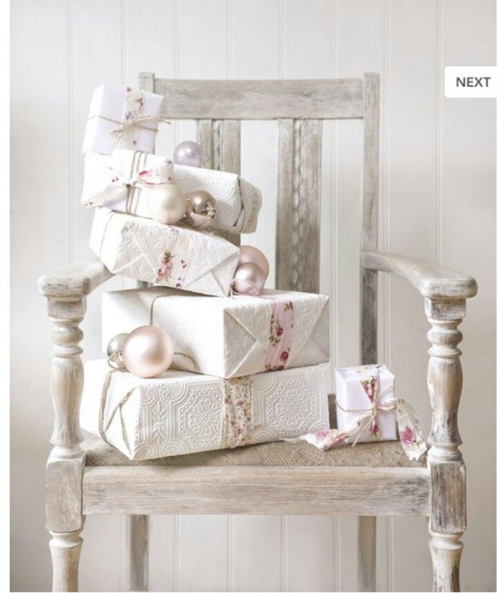 Antiqued Chair €50, Wrapped Boxes €25, Baubles €20
