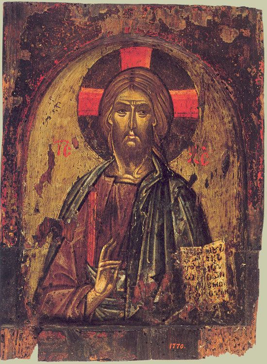 Христос Вседержитель. Византия. Средник складня. Вторая половина XIII - начало XIV века.