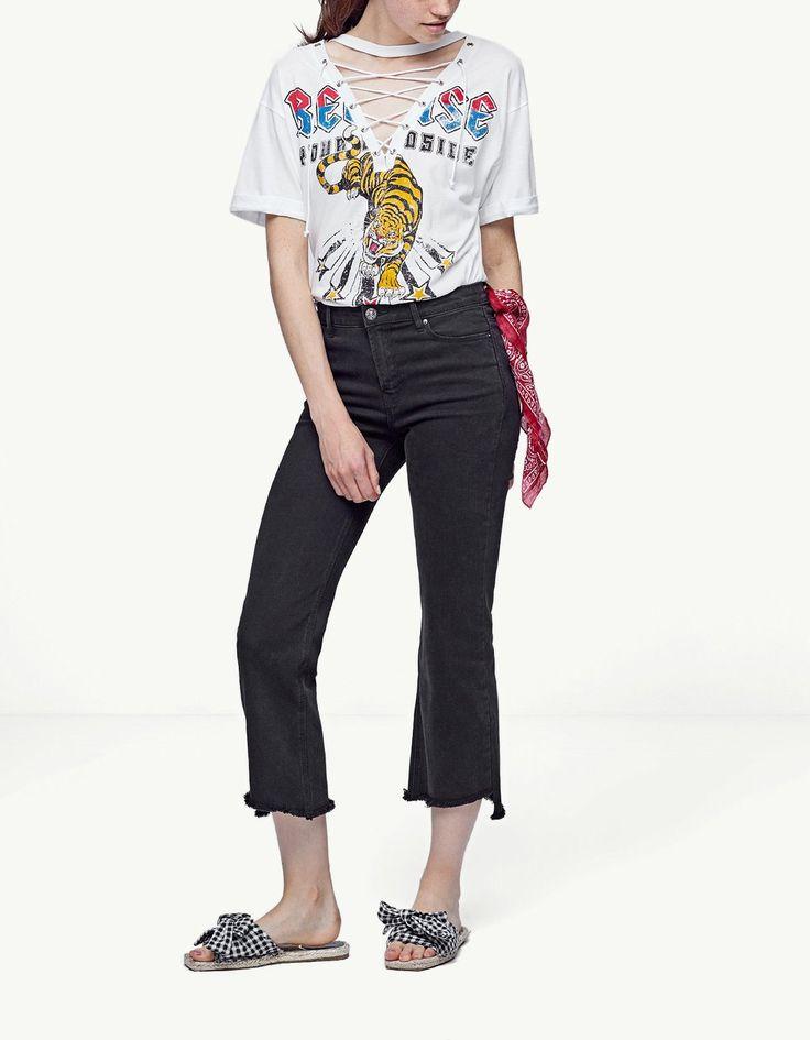 Losse crop broek - T-shirts| Stradivarius Netherlands