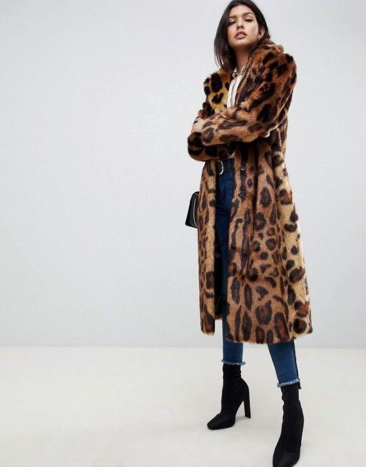 232f90ca6 DESIGN maxi leopard print longline faux fur coat | CLOTHING: Coats ...