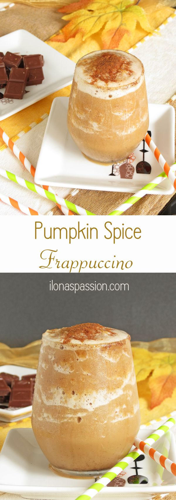 Vegan and Skinny Pumpkin Spice Frappuccino by ilonaspassion.com #frappuccino #pumpkin #spice #autumn #coffee