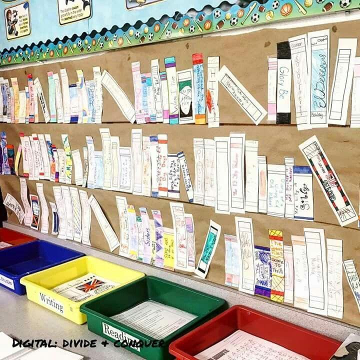 Teken de zijkant van je boek en vul er de klassenbieb mee.