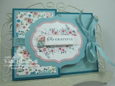 This Joy Fold card was ultra fun to make. I used the Twitterpated Designer Series Paper to accent the Island Indigo, Baja Breeze and Pink Pirouette card stock. The new Framelits Labels Collection perfectly frames the stamped images from the Apothecary Art stamp set.
