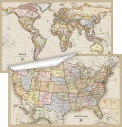 43 best products images on pinterest wall maps world maps and antique usa and world wall map set gumiabroncs