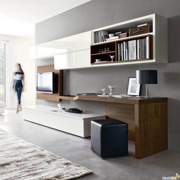 Logic 528 una parete attrezzata completa di scrivania for Scrivania soggiorno