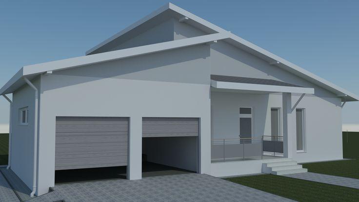 Családiház-tervezés három dimenzióban Nyugati homlokzat. Délután kap napsütést. A garázs látszólag egyben van az épülettel, de energetikailag le van választva. Azaz kívül van a termikus burkon.