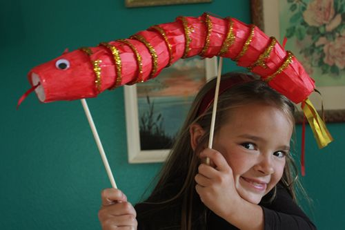 """Chinese New Year Snake Puppet made with paper cups ("""",)"""