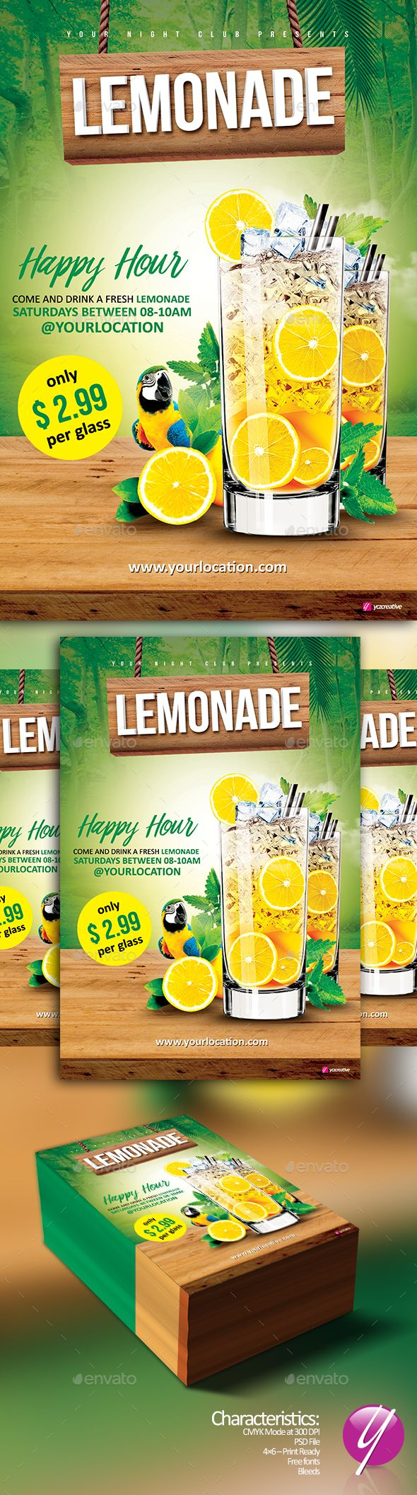 Lemonade Happy Hour Flyer Template PSD. Download here: http://graphicriver.net/item/lemonade-happy-hour/16478869?ref=ksioks