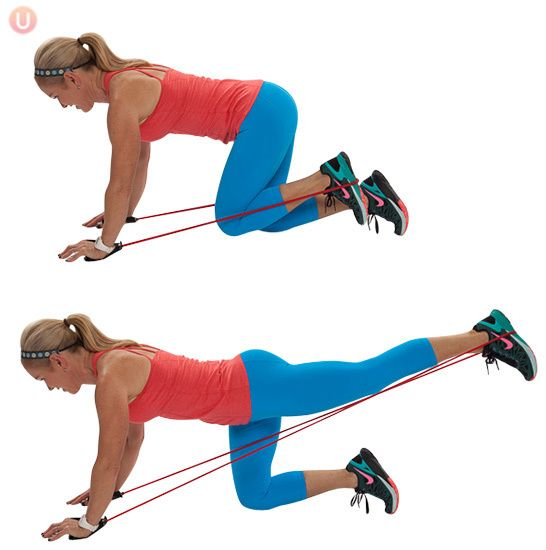 This workout is designed to tighten up your booty sans any form or squat or lunge. So relax. This workout requires a resistance band. | Huffington Post | Chris Freytag