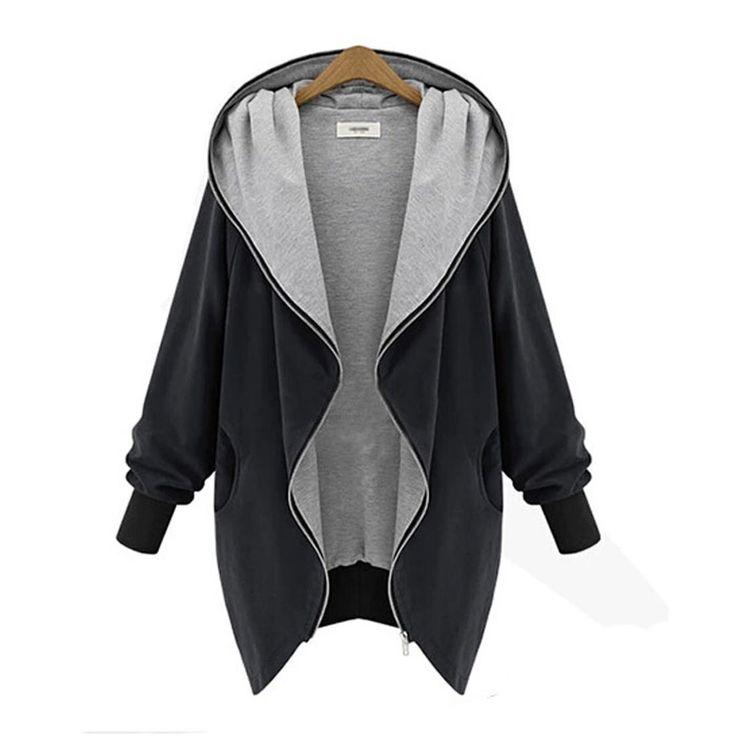 Pooqdo (TM) Newest Womens Zipper Hoodie Kapuzen Jacket Windbreaker (XXXXL, Black)