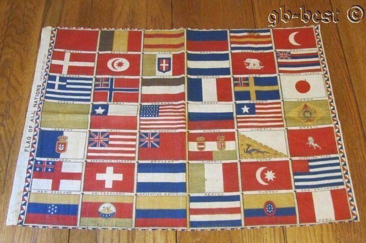 RARE c 1876 Flag of All Nations CENTENNIAL Fabric