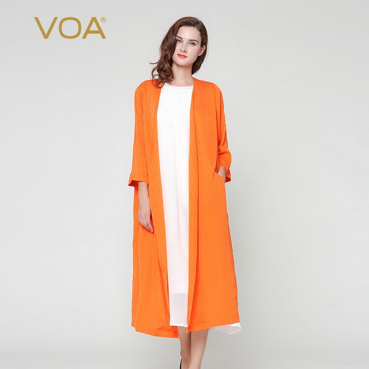 Find More Trench Information about long cardigan for women plus size autumn orange thin section silk sweater female casual trench overcoat F3320,High Quality trench cardigan,China silk trench Suppliers, Cheap trench for women from VOA Flagship Shop on Aliexpress.com