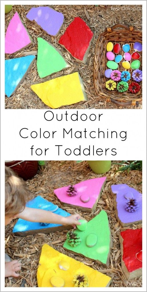 Make this whimsical painted flagstone color matching game with natural items- a great way to bring occupy your toddlers while you plant some spring flowers!