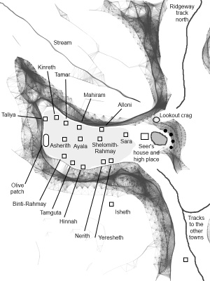 Schematic outline of the village of Kephrath, with some of the key locations highlighted