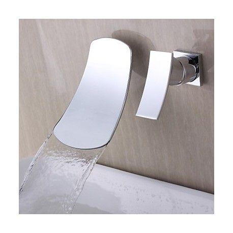 Contemporain Design Cascade mural Chrome Bec Courbe robinet de salle de bains