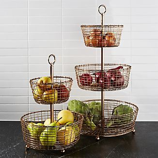 Rustic Tiered Copper Fruit Baskets