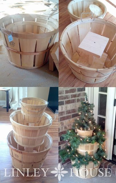 Apple Basket Christmas Decor -This tiered Christmas display was super easy to build. All that you will need are baskets (or some other kind of stackable containers), some miscellaneous pieces of scrap wood, wood screws, a drill and your favorite Christmas garland/decor items.: