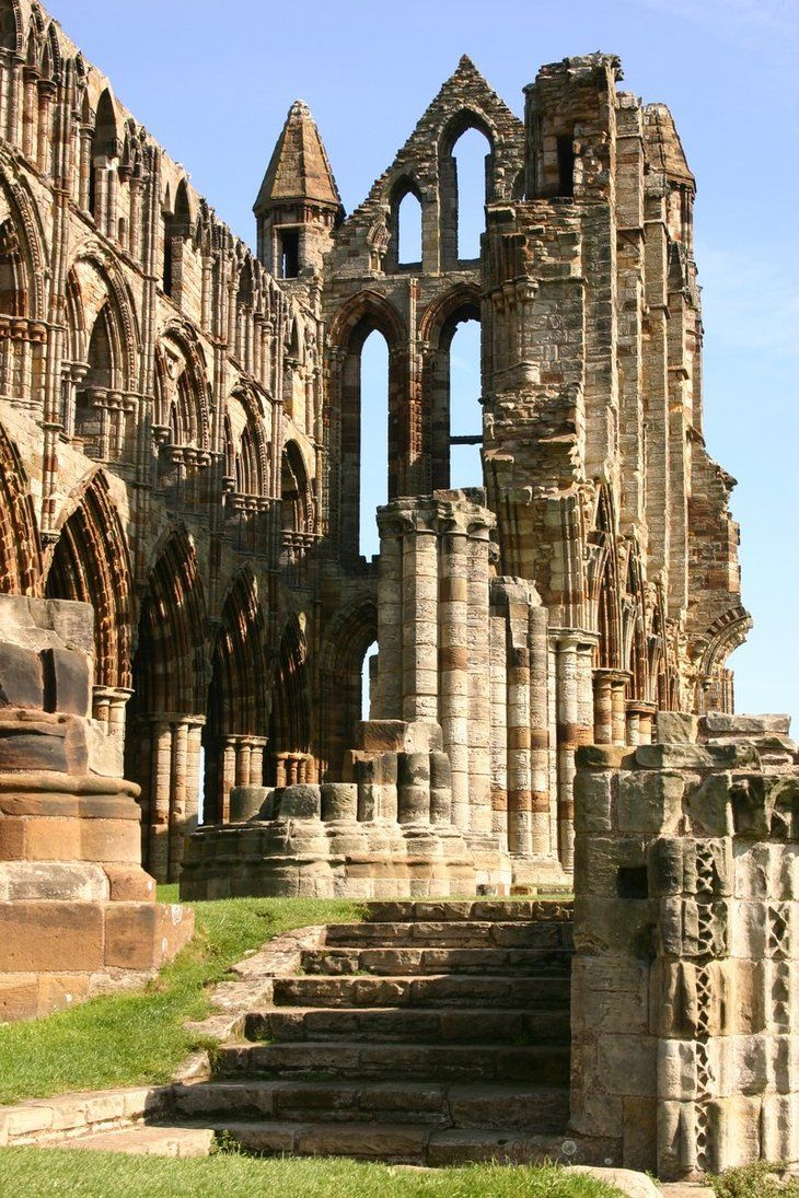 Ruins of Whitby Abbey on the windswept North Sea coast, North Yorkshire, England, which was disestablished during the Dissolution of the Monasteries 1536-1541 by order of King Henry VIII. Here St.Hilda preached and the cowherd Caedmon sang, reminders of what was once the heart of English learning, and a civilisation that consoled and inspired rich and poor alike for centuries. (Robert Lacey, historian)
