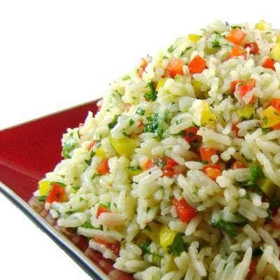 Hot/cold rice salad