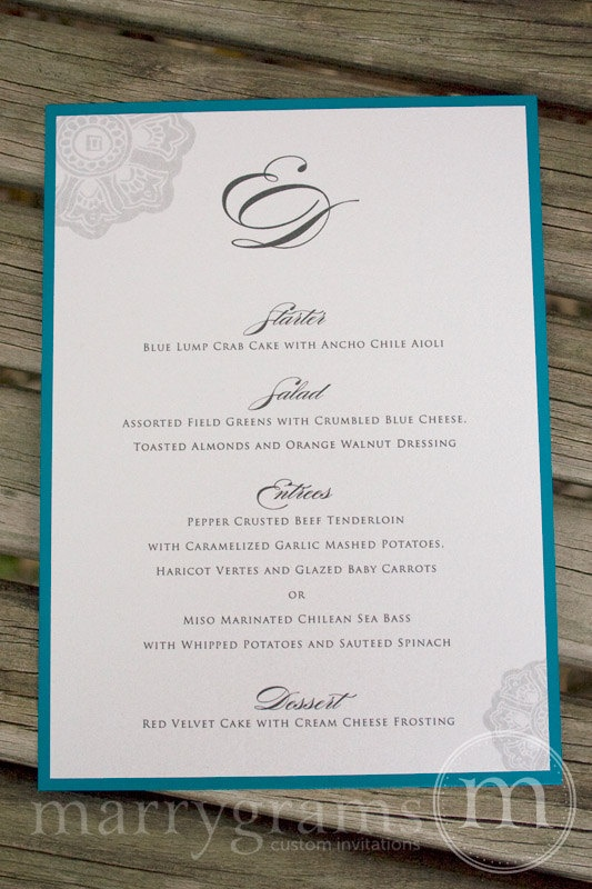 Layered Wedding Menu Card  Teal and White with by marrygrams, $112.50
