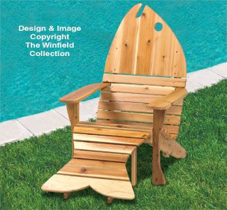 Adirondack Fish Chair-Ottoman Plans This fish shaped adirondack chair is not only comfortable to lounge in, but also highly decorative just sitting by itself on a deck, by a pool, or on a lake. #diy #woodcraftpatterns