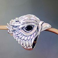 Men's onyx ring, 'Hawk Power'