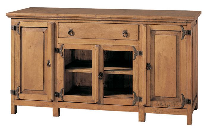 #aparador #buffet estilo #rústico #mejicano ref: 24117, de 2 puertas de cristal, 2 de madera con un cajón fabricado en España. Más información en Rústico Colonial:  http://rusticocolonial.es/mueble-rustico-y-mueble-mejicano-de-gran-calidad-al-mejor-precio/muebles-de-salon-rusticos-y-mejicanos-de-gran-calidad-al-mejor-precio