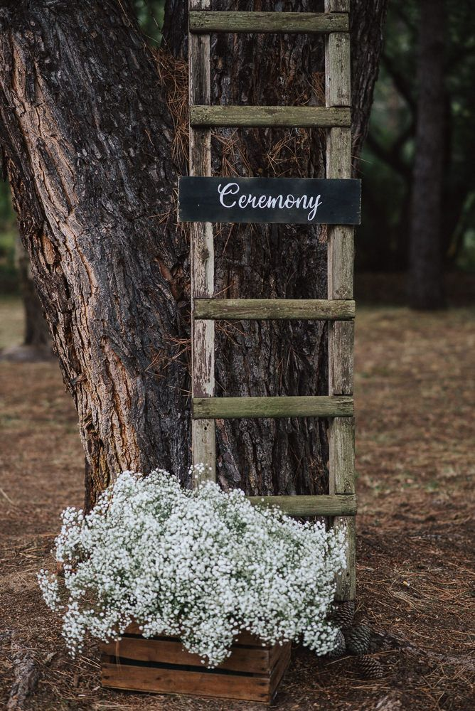 Rustic Wooden Step Ladder & Crate Wedding Decor - Fern Edwards Photography | Pronovias Wedding Dress | Britten Isabella Cathedral Length Veil | Outdoor Rustic French Chateau Wedding | Tulle Skirt Bridesmaid Separates