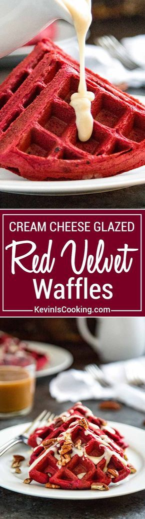 Red Velvet Waffles with Cream Cheese Glaze are the perfect way to wake up your sweetie for Valentines Day breakfast or after a great dinner for dessert.  via @keviniscooking