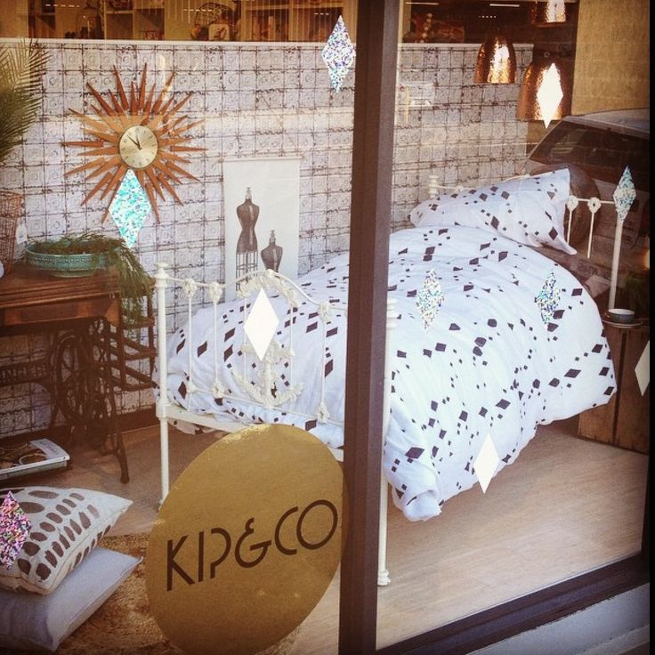 Diamonds are forever . . .  Kip & Co Diamond print linen quilt cover + pillowcases looking superb in the window of our launceston store  #linenbedding #inside #insidelaunceston #interiors #boho #shabby #diamonds #design #style #kipandco
