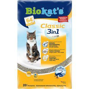 Biokat Classic Kattenbakvulling 20 ltr  Description: De Biokats Classic 3-in-1 kattenbakvulling De kattenbakvulling staat bekend om zijn sterke klontvorming en is daardoor zuinig in gebruik. Enkel de klonten worden eruit geschept de rest blijft schoon. Voordelig veilig en snel online te bestellen bij Huisdierplein. Een zak van 20 kg is voldoende voor twee maanden met een kat!  Neutraliseert alle vieze geurtjes;  heeft een zeer goede geurbinding;  bestaat uit 3 verschillende korrelgroottes…