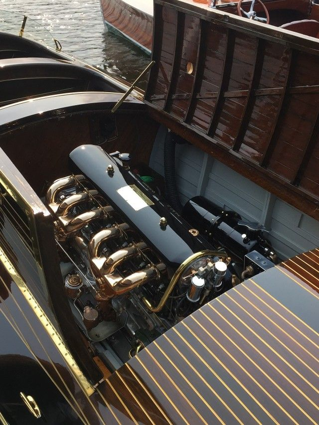 """3/3 GULL LAKE CLASSIC BOAT SHOW 2015 ~~ The Hall-Scott Semi-Supercharged LM-6 engine in """"Horace"""" – very impressive engine."""