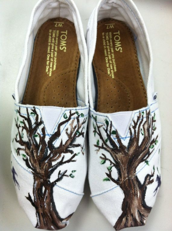Bare Tree Hand Painted TOMS by dafonteart on Etsy, $75.00